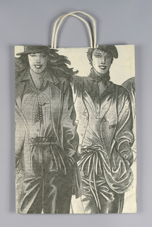 Spring bag. Off-white bag with black drawing of fashion models.  Recto: two models. Verso: two other models.