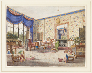 This interior displays a combination of flamboyant chinoiserie motifs and mundane English Regency chairs and case furniture. Bamboo is used in additional furniture, as well as in door panels, shutter panels and the fretwork frame of the overmantel mirror. The ceiling frieze painted blue with gold Chinese characters and the hanging birdcage compliment the Chinese wallpaper and porcelains.  Books and baskets are casually scattered on the floor; flowers and plants, in true Victorian style, decorate the room. The elaborate drapery treatment is very much of the period.