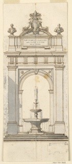 A fountain framed by an aedicule (small shrine or temple) topped with the coat-of-arms of Pope Benedict XIV. At lower left, a rough graphite sketch of the plan.