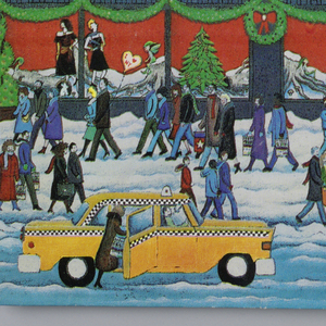Colorful urban street scene featuring Bloomingdale's holiday storefront with Christmas decorations, including green and red flags, green wreaths with red bows, and store windows depicting winter scenes. The street scene below shows people wearing winter clothing and walking by the department store on a snow-covered ground. A yellow taxi cab and black car appear in the foreground.
