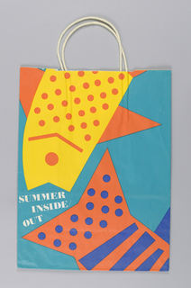 Summer Inside Out/Conrans. Stylized fish in yellow, orange, blue on turquoise background. Side panels: store name.