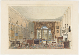 The swagged pelmet on a pole and tieback draperies in the rear of this library suggest the Regency period. The prints on the fireplace wall on the right show people in academic or clerical robes. Bookcases line the left wall, where a lower cabinet door is ajar. Nearby, a library ladder, desk and books piled on the floor reveal that this room is a working library, possibly belonging to an Oxford don.