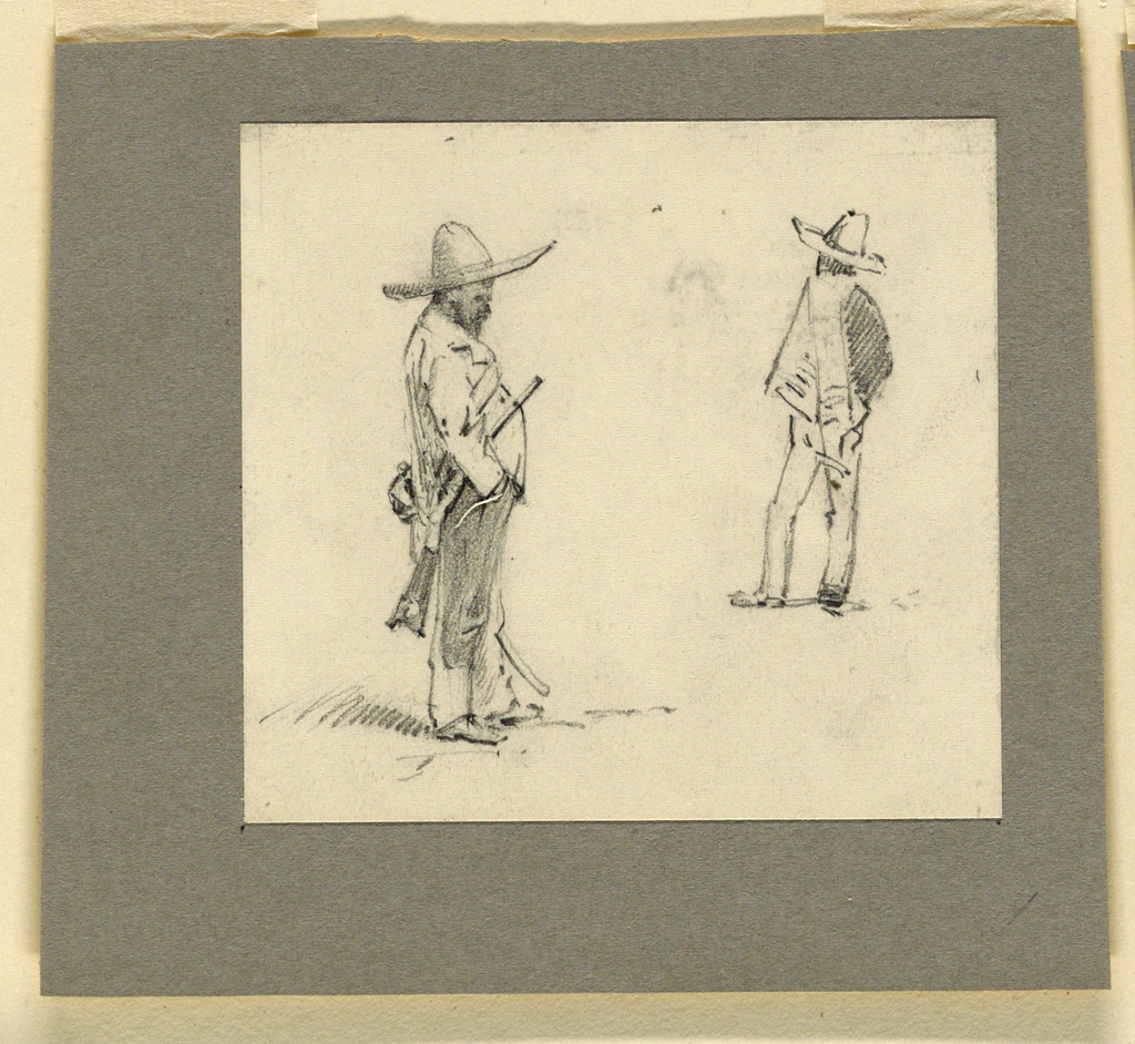 Horizontal rectangle. At left: a man with a gun and a sword is shown in profile turned toward right. At right: a man shown from the back.