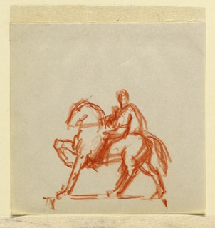 A figure on horseback, seen in left profile. The horse's right front leg is raised. The rider's left hand rests on the horse's rump.