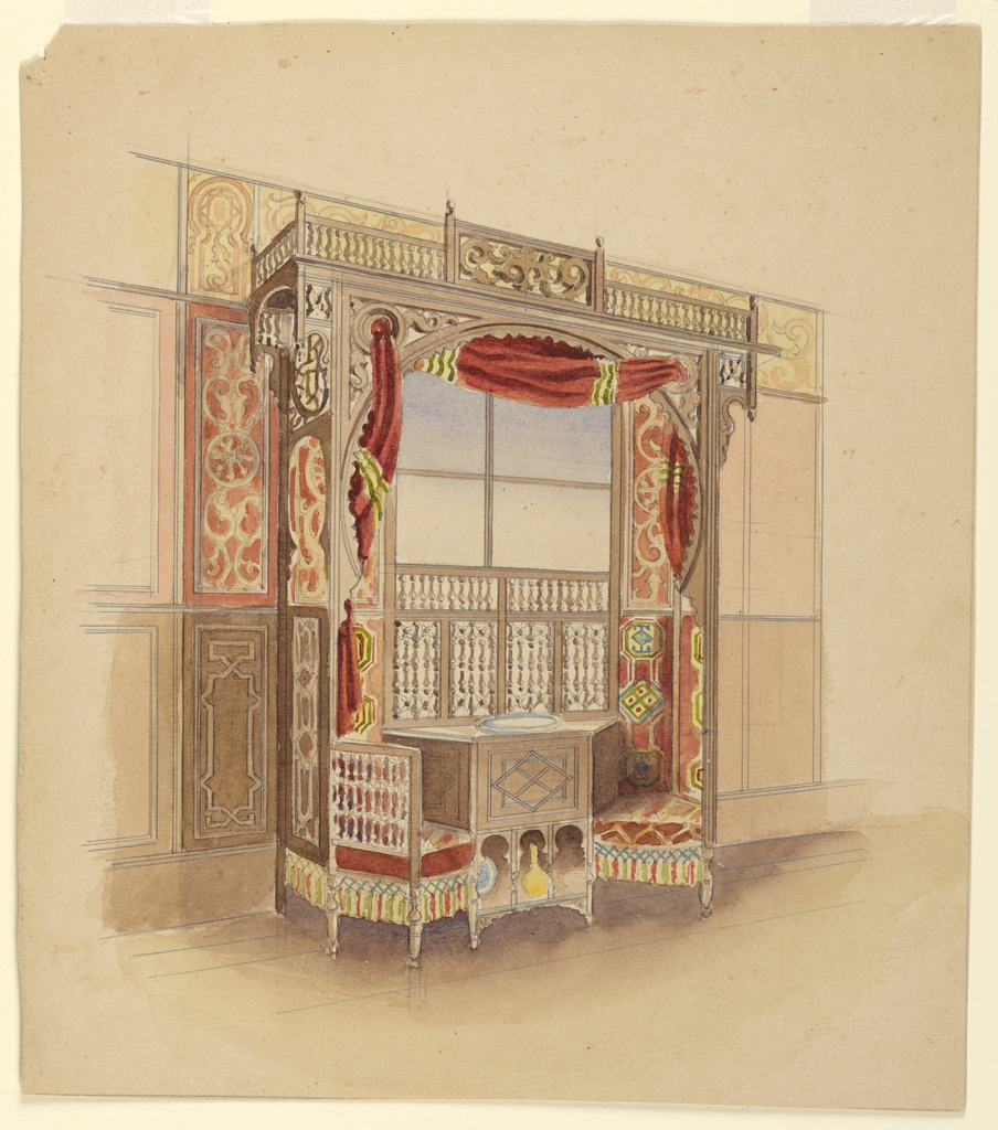 Drawing, Window Seat with Cabinet