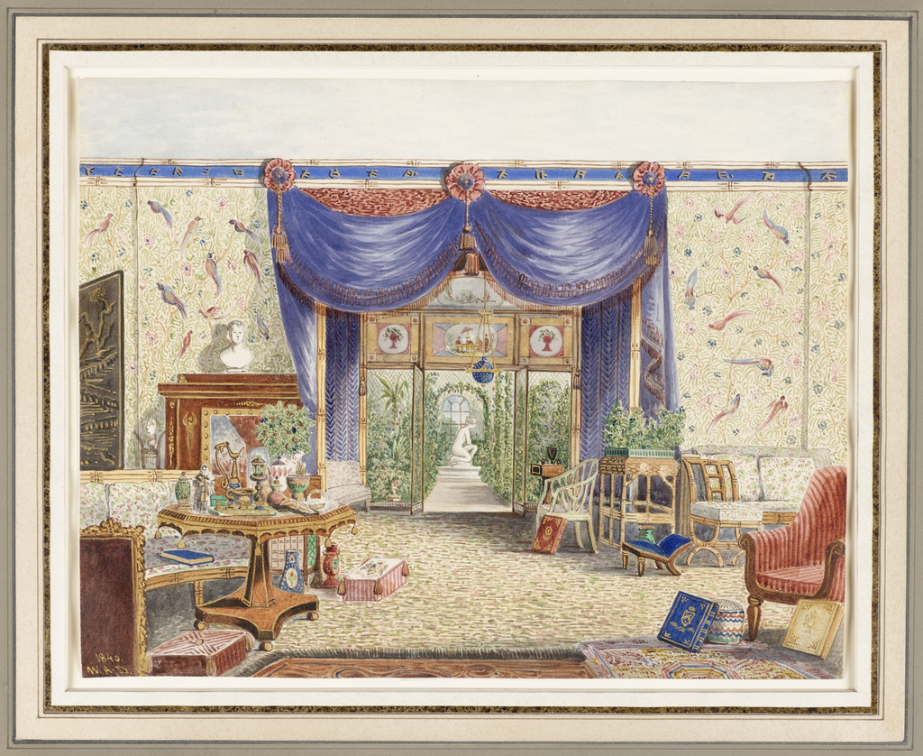 Drawing, The Interior of the Chinese Room, Looking toward the Conservatory, Middleton Park, Oxfordshire