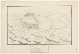 A large valley in the center of the composition is situated between mountains in the foreground and the background. A stream runs through the valley, which is scattered with trees. A walled settlement appears on the center left. A box with text in Italian appears in the bottom center, below the picture. The text includes letters indicating places that correspond to letters dispersed throughout the composition.