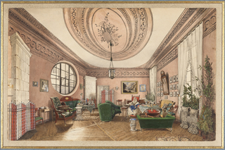 This salon was probably located in a house in northern Europe. The ceiling motif of musical instruments suggests that the salon was intended for a music room. Intricate ceiling and wall moldings reflect Neo-Classical and Rococo motifs.  Moresque influence is seen in the tablecloths, screens and rug, this last partially-viewed in the foreground. Comfortable furniture, potted plants, the grouping of small pictures on the right wall and fringed white tieback curtains create a Victorian room, curious in detail.