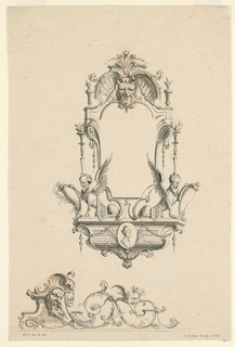 Design of a cartouche composed of a mask above, below sphinxes with bearded men's heads; profile image of a woman. Lower portion of design includes foliate C-curves growing from a bearded man's head.