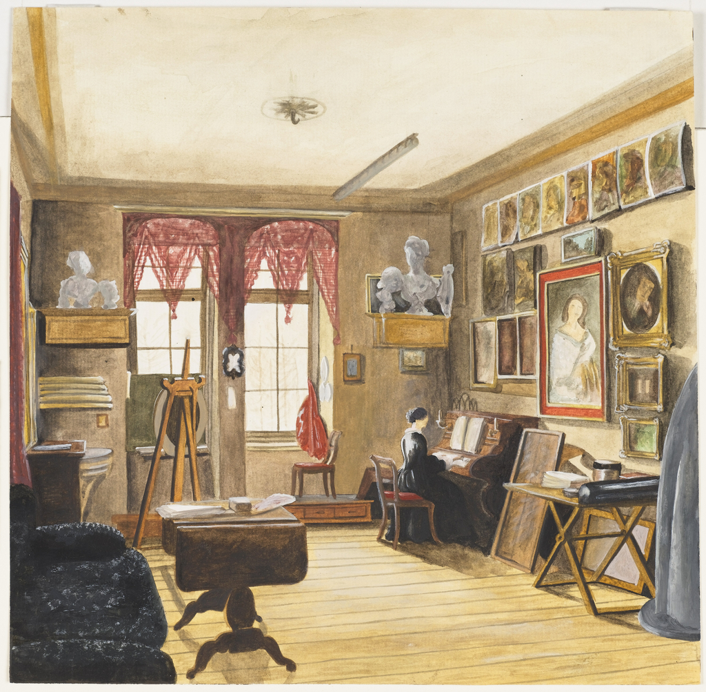 This is a study in watercolor for an oil painting of the same room by the same artist. It is possible that the subject is the artist's own studio, with his wife or another family member at the piano. Implements of the artist, plaster casts, an easel and paintings are seen. Decoration is limited to the red lace lambrequins at the windows.