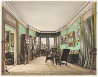Although not signed, this view is characteristic of the work of F. W. Klose and, accordingly, may be attributed to him. The exaggerated receding perspective, views of the countryside and a look into an adjacent room recall the artist's Rose Room and Blue Room at nearby Schloss Fischbach. The bare wood floors, and windows, unadorned except for a green valance, signal that the season is summer, while several arrangements of peonies suggest the months of May and June. Green walls trimmed with a gold fillet create a background for Jacobean upholstered furniture and chairs, tables and bookcase in the Sheraton style. Italian landscapes are interspersed with sculptures, vases and a large Venetian goblet, all displayed on brackets. Portraits are seen in the adjacent room.