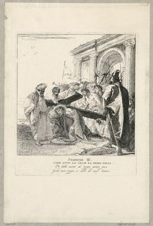 Print, Via Crucis - Station III, He Falls Beneath the Cross the First Time, ca. 1749