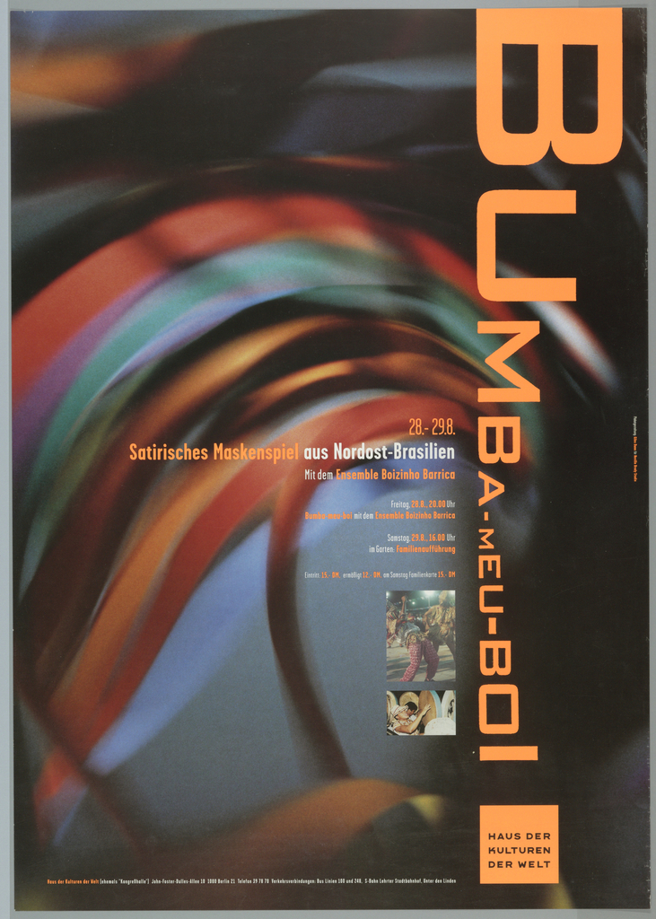 Blown-up blurred image of red, orange, teal, blue swirls in circle dominate poster.  Swirls probably close-up of ritual dancing hat.  Small photography of dancer wearing crown hat with multiple color stripes hanging down.  Twirling his head as part of dance, will produce the dominate image of poster. Second photo below is of Hispanic male holding vanacular instricument like large drums.  Text on bottom half.