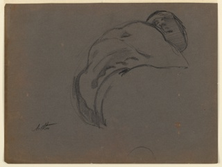 "Study for sculpture group. Roughly drawn sketch of the left portion of the torso of ""Day"" with the head shown, seen from eye level. Drawn from a plaster cast."