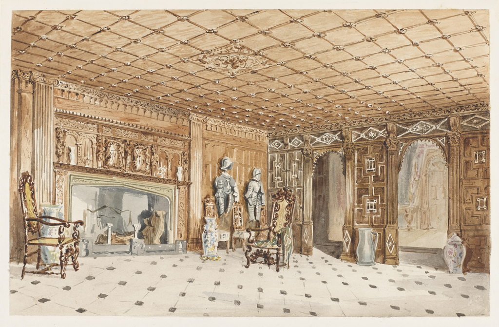 Drawing, The Entrance Hall, East Sutton Place, Kent
