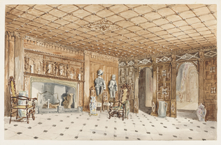 East Sutton Place Kent (parts of which dated back to the time of Henry VIII), was the family seat of Sir Edmund Filmer, Baronet and Member of Parliament. The Elizabethan intricately-carved walls and ceiling is reflected in the square design of the marble floor. The Elizabethan  hall chairs, suits of armor and Oriental ceramics all probably close to the original Tudor scheme for the entrance hall.