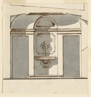 Drawing, Design for a Small Wall Fountain