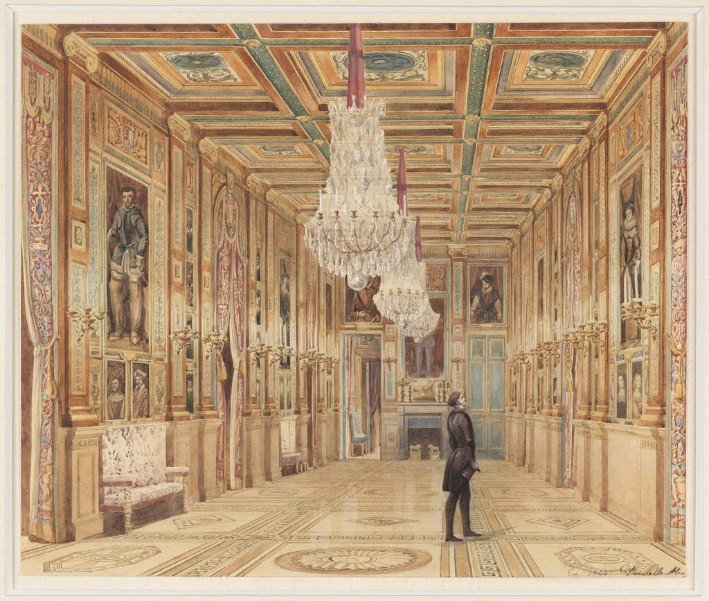 Drawing, View of the Picture Gallery at the Château d'Eu (Vue de la Galerie au Château d'Eu)