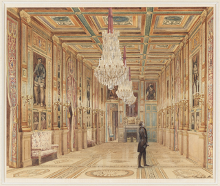 In this view, the highly decorated Galerie des Guises in the Chateau d'Eu is lighted by three large crystal chandeliers and additional wall candelabra. The coffered ceiling in a square pattern reflects the design of the inlaid floor. Portrait paintings of the Renaissance period are placed in panels along the walls. A lone visitor, hat in hand, gazes up at a painting.