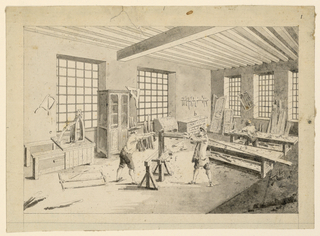 Drawing, A cabinet-maker's workshop from Diderot's Encyclopedie, 1755