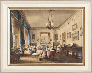 This drawing room, typical of the early Victorian period, shows the intimate comfort of a well lived-in room.  The ladies of the house are about their pursuits; the gentleman attends his dog.  Pictures line the walls, and a piano, a large round center table, a vase of flowers, a bird in its cage, a curious stuffed leopard, and shelves of books create an atmosphere of quiet relaxation. Books hanging on the door of the room are a seldom-depicted feature.