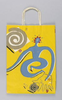 Recto: Swirly blue figure on yellow background.  Verso: same swirly figure in red on yellow background.
