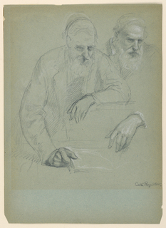 Drawing, Two Studies of Daniel Hun, 1881