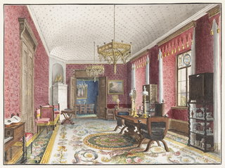 Displaying a combination of Neo-Gothic and Jacobean styles, this red room reflects the influence of Karl-Friedrich Schinkel's design books that were available from the 1820's onward. Chairs, cabinets-on-stand, tables and a harpsichord are late Renaissance in style. Chandeliers are Neo-Gothic in the manner of A. W. Pugin. The upper panes of the windows are inset with heraldic motifs, and tasselled pelmets create a valance across the top. A central medallion and floral-and-leaf pattern comprise a carpet in the Neo-Classical style.