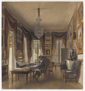 In this drawing of the study in the Chateau de Neuilly, the summer residence of King Louis-Philippe, he is seated at his writing table, piles of documents at his side. Swagged draperies in the Empire style frame the windows, which look out on the park at Neuilly. Except for the large number of paintings lining the walls, this is a typical working study of the time, an almost middle-class room.