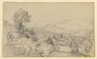 Sketch of trees with mountains in the background.
