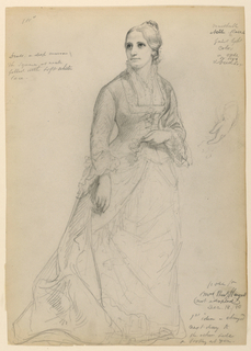 Standing female figure, turned towards right, gazing upwards towards left. Her left hand sketched in a different pose, at right. Verso: Study for a left hand.