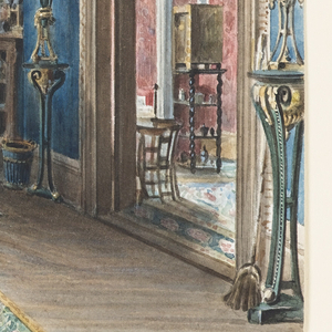 The Blue Room, most likely a dining room, is decorated in the Gothic Revival Style.  A view of the beautiful countryside of Silesia is visible through the center window, with its stained glass upper transom, located in the seating alcove. The entrance to the alcove is hung with a blue-tasseled pelmet and white curtains. A religious painting, at left, is juxtaposed with flowers, plants, a desk, an etagere and a dining table, elements of a comfortable room in a country house. Both the green rug, bordered in a rose-flower pattern, and the central chandelier are influenced by Victorian decoration. An adjacent room, in pink tones, is seen at right.