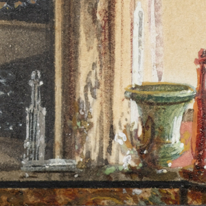 This view of Prince Karl of Prussia's study in the Ordenspalais. Berlin reflects the Mooresque style in the patterned carpet, drapery and cushioned banquettes reflected in the large mirror at the right. The walls are lined in a textile patterned on a Gothic Revival motif. The focal point of the room is a large Schinkel-designed galleried desk inset with panels of amber-colored molded glass; a top shelf displays a collection of vases, bottles and other treasures. On the left, two marble plinths holding potted plants possibly serve as a room divider. A copy or version of Cristofano Allori's Judith with the Head of Holofernes, in a frame designed by Schinkel, hangs on the wall at the left rear.