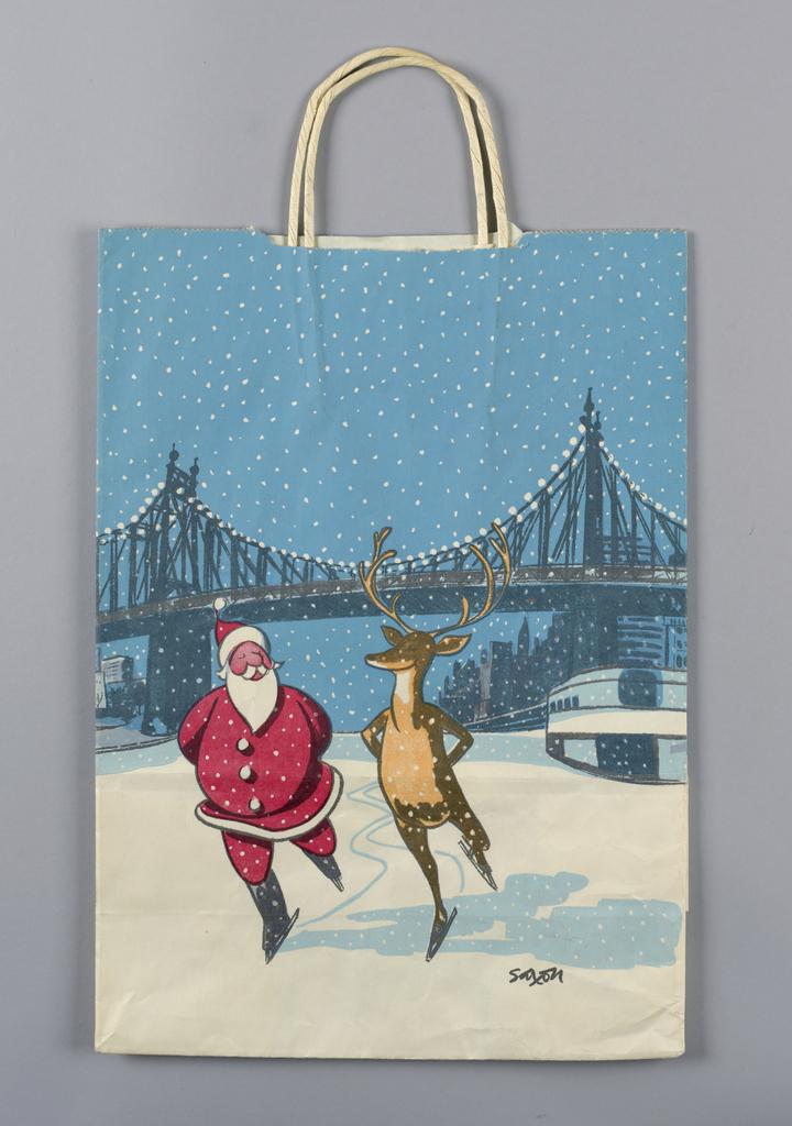 """""""Bloomingdale's is Christmas"""".  Skating Santa and reindeers as image."""