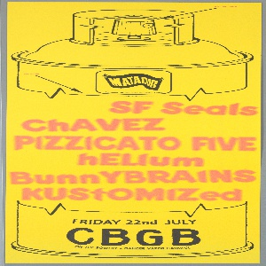 """Promotional poster for a Matador Records-sponsored concert at CBGB Club, New York, July 22, 1994. Yellow paper with schematic outline of spray can; Matador logo in upper center. In center, pink stencil-style type on body of spray can lists the bands performing: """"SF Seals, ChAVEZ, PIZZICATO FIVE, hELium, BunnyBRAINS, kustoMized."""" Various type throughout, including venue and date at bottom."""