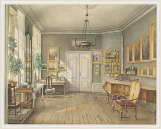The music room of Fanny Hensel (nee Mendelssohn), pianist, composer and elder sister of the more renowned composer, Felix Mendelssohn-Bartholdy, was in the Hensel residence at no. 3 Leipzigerstrasse in Berlin. Well before her marriage and continuing for many years afterward, Fanny organized and programmed small musical gatherings which took place in this room. The room is dominated by a grand piano. The walls are hung with a collection of paintings. A desk and sewing table are placed to catch the sunlight. Simple white curtains at the windows, potted plants on the windowsills, and the bare floor suggest summertime. A large cross is placed on a table in front of a pier mirror.