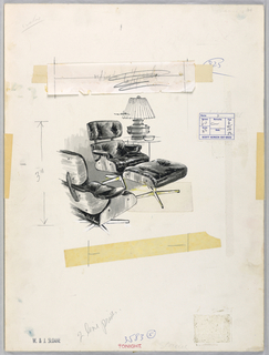 Two Eames chairs and foot stool