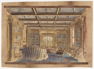 In this view of the library at Dingestow, bookshelves, enclosed by square Corinthian columns and pilasters, line the walls. The frieze with classical busts above the shelves, panelled overmantel and tracery ceiling are inspired by the English Renaissance style of Henry VIII. The seating, slipcovered in red-and-white striped fabric, evokes a comfortable Victorian setting.