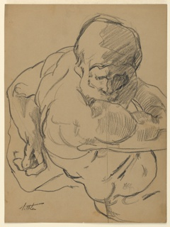 """Study for sculpture group. The figure of """"Day"""" is seen from the back, right, with head turned to the right and left arm behind him. Only upper part of sculpture shown. Drawn from a plaster cast."""