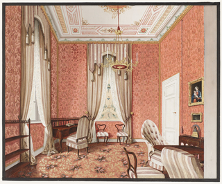 This opulent salon is apparently unused: the tables are without objects and the bookcase is bare. Formal red and white striped curtains, tasselled pelmets and lace undercurtains lend majesty to the room. A painted blind in the chinoiserie style is at the center window. The walls are hung with a coral patterned fabric. Acanthus leaves are interspersed with bouquets of roses on the coral ground of the carpet. Ornaments are limited to two paintings, one featuring a Madonna and Child; a gilt-bronze clock under a glass dome; and an inkwell.