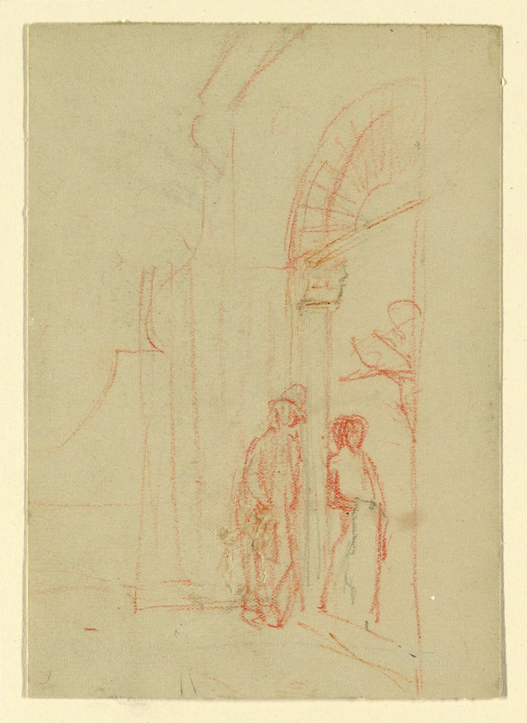 Verticle rectangle. Two persons, standing respectively outside and inside an obliquely shown gateway, apparently listen to what a bearded man reads to them. He seems to look out of the window.
