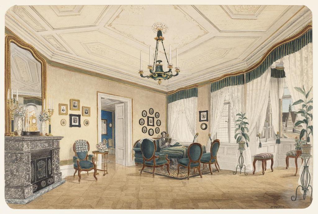 Drawing, A Salon, probably in Stuttgart