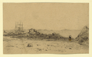 Horizontal rectangle. Sand is in the foreground bordered at the back by a row of boulders. Ships and possibly a lighthouse are shown at left in the middle plane. A shoreline and possibly an island are in the background.