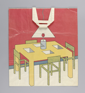 Recto: Stylized dining room table with four chairs. Verso: Chair, lamp, table on yellow background.