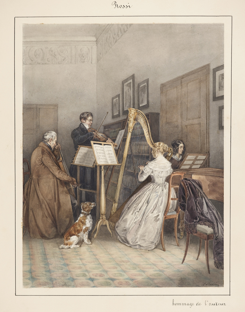 In this typical music group, a woman dressed in an elegant white silk gown is seated at the harp; a second woman is seated at the piano; a man, standing, plays the violin; and another man, seated, plays the cello. The family spaniel looks on. The walls appear to be of gray stucco (?) with a classical frieze at the top. The floor is stenciled in a colorful circular pattern.