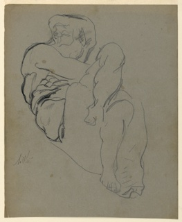 """Study for sculpture group. Recto: """"Day"""" seen from the left end, with the entire figure shown. Drawn from a plaster cast. Verso: Sketch of the upper part of the same figure, seen from the back. Below, outline of the whole figure and scale: 5' 20"""""""