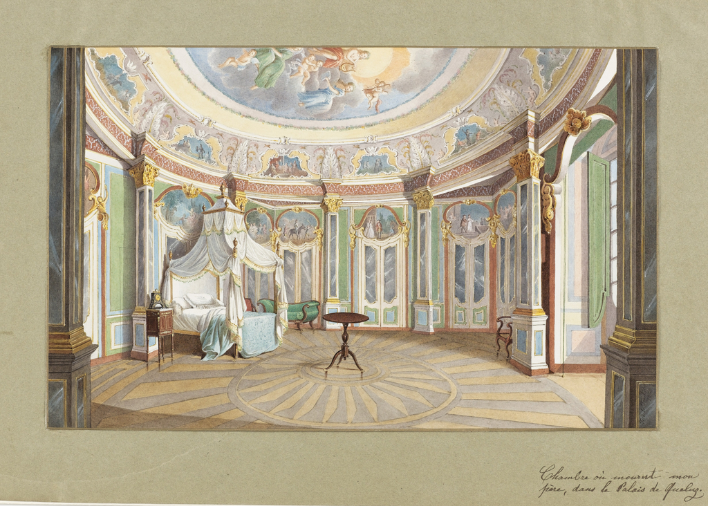 The palace was built in 1747-1752 in Portugal by Mateus Vicente de Oliveira (1706-1786) for the Infante Dom Pedro in homage to Versailles.  The bedroom of the Emperor Dom Pedro I of Brazil (the King's Bedroom) represents a remarkable example of Rococo decoration.  The circular room is decorated by Manoel da Costa with episodes from the story of Don Quixote. Da Costa was influenced by the French Rococo designer, Jean Pillement.  A rendering of Apollo and the Muses is partially seen on the ceiling.  The bed is draped in the French style; however, the rest of the furniture appears to be English.  The radiating patterned floor is probably of Brazilian hardwood.