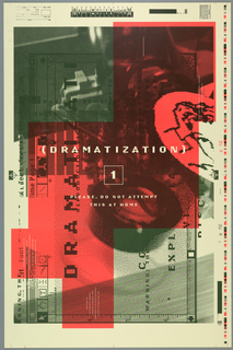 "Poster for Emigre Graphics Magazine. Multiple perspective but intended viewpoint is when color field is on right edge.   Made to resemble draft printed from computer. Space for inventory information at upper left corner. Side-way reproduction of enlarged computer screen of graphics program using layering of dark military green, pink, and faint military green. Top left is in dark military green while bottom left and bottom right are in faint military green.  Majority of poster is pink.  File name is ""Time Page 1"" on left center with rows of icons such as cursor, hand, text box along left side.  Guide ruler at bottom. Image on computer screen seem to be blurred camera with pixelated image of lens. Across center, imprinted in white: ""(DRAMATIZATION)/ 1/ PLEASE, DO NOT ATTEMPT/ THIS AT HOME""."