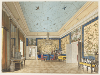 This Chinese Room reflects the royal taste and patronage in the 1820s and 1830s Berlin. Large panels of highly decorative hand-painted Chinese paper, with borders of gold Chinese characters on a blue background, line the walls. Black lacquered furniture upholstered in bright yellow silk, a curving banquette by Birkenholtz covered in blue damask and two Renaissance Revival chairs covered in rose velvet provide seating. A japanned cabinet is in partial view in the right foreground; large Chinese porcelains are on display; and a grand chandelier hangs from a whimsically painted ceiling evoking the heavens. The bare floor is of blond parquet.