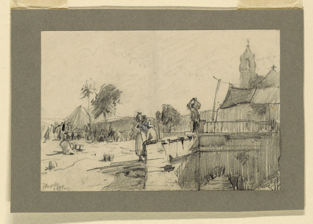 Horizontal rectangle. A bridge and the church are in the right middle plane. The central group consists of a woman with a water jar conversing with a man who is seated upon a low wall, bordering the place in the central foreground. Caption, lower left corner: Mexico, 1888.